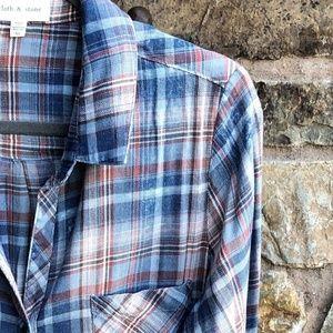 CLOTH & STONE Plaid {Shirt Dress } Fringe Hem XL